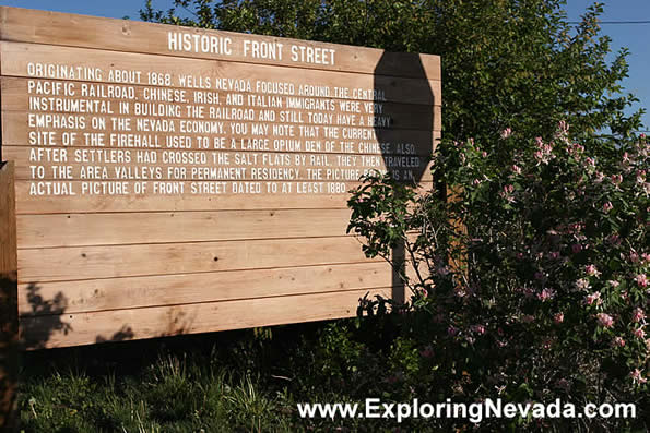 photo of a sign describing the historic front street in wells nevada